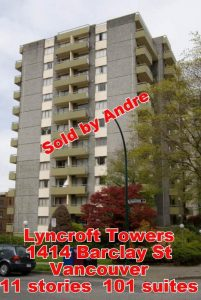 Apartment building with 101 suites at 1414 Barclay St in Vancouver sold by Andre